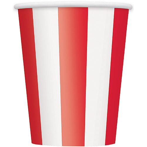 12 oz Red Striped Paper Cups, 6ct