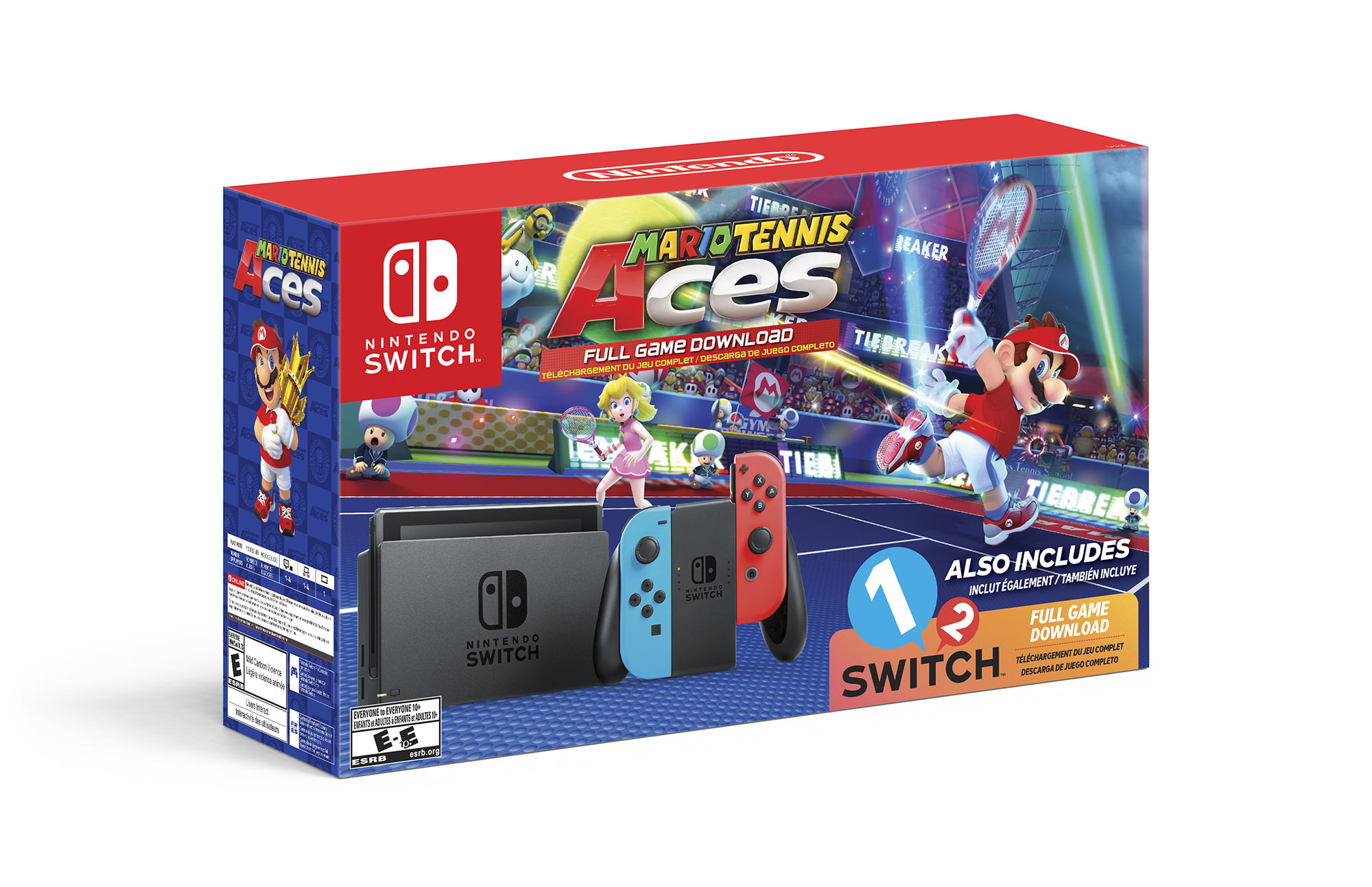 Nintendo Switch System, Neon Blue & Neon Red with Mario Tennis Aces...