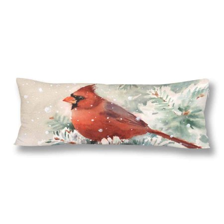 GCKG Watercolor Winter Cardinal Bird Hand Painted Body Pillow Covers Case Protector 20x60 inches - image 2 de 2