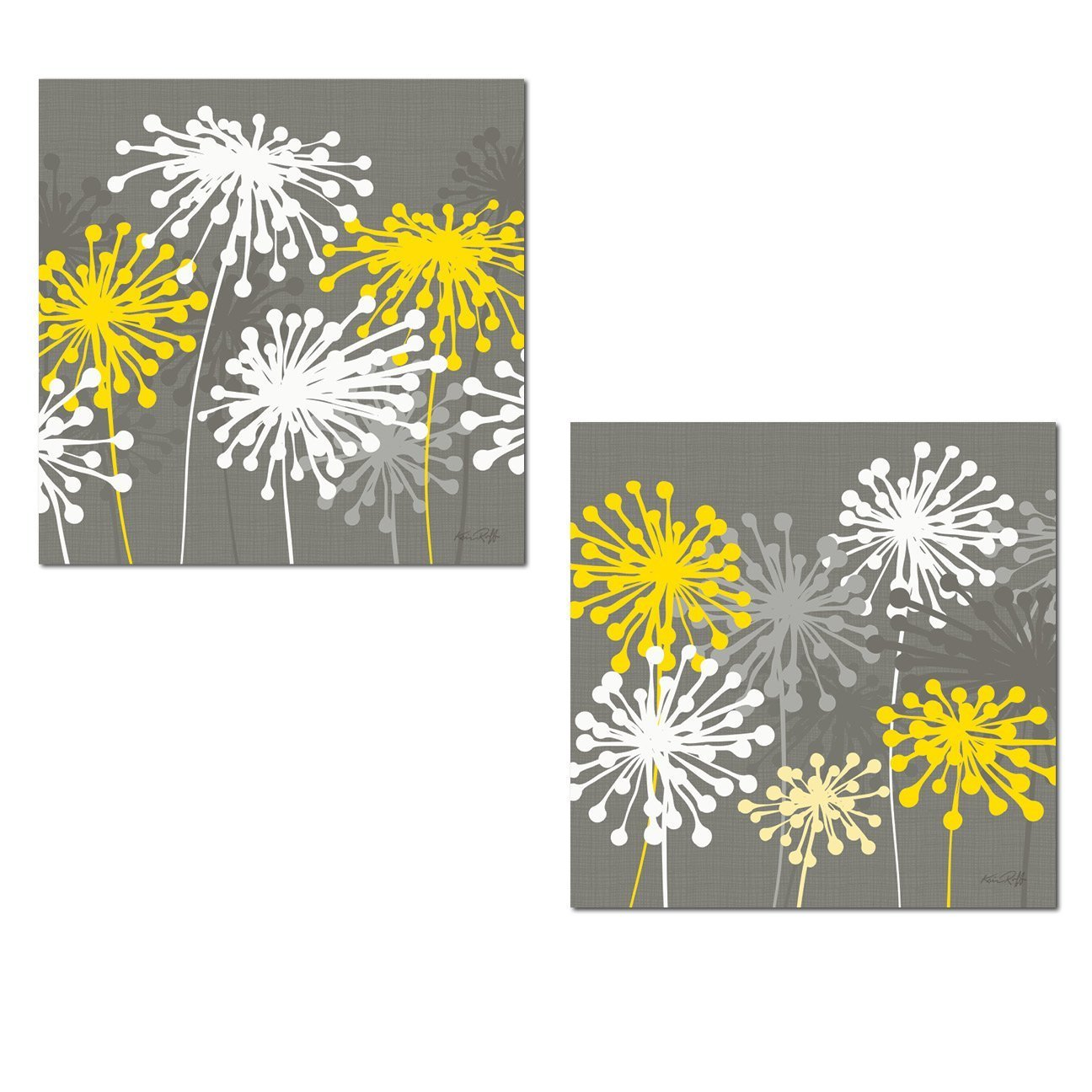 2 Gray, White and Yellow Dandelion Prints; Floral Decor; Two 12x12in Poster Prints