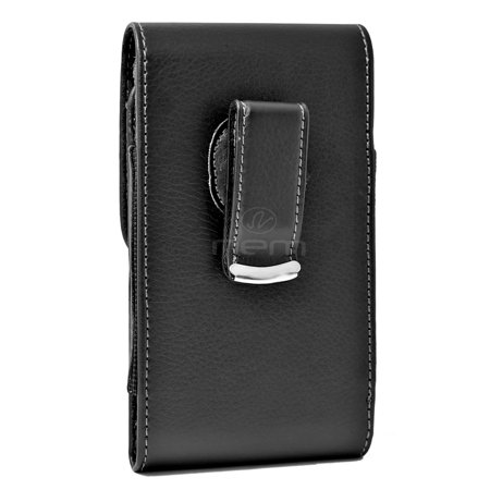 Large Size Vertical Leather Swivel Belt Clip Case Holster Compatible with Motorola Moto M Devices - (Fits With Otterbox Defender, Commuter, LifeProof Cover On It) - image 1 de 9