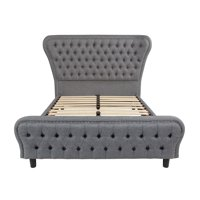 Offex  Cartelana Tufted Upholstered Full Size Platform Bed with Silver Accent Nail Trim in Light Gray Fabric