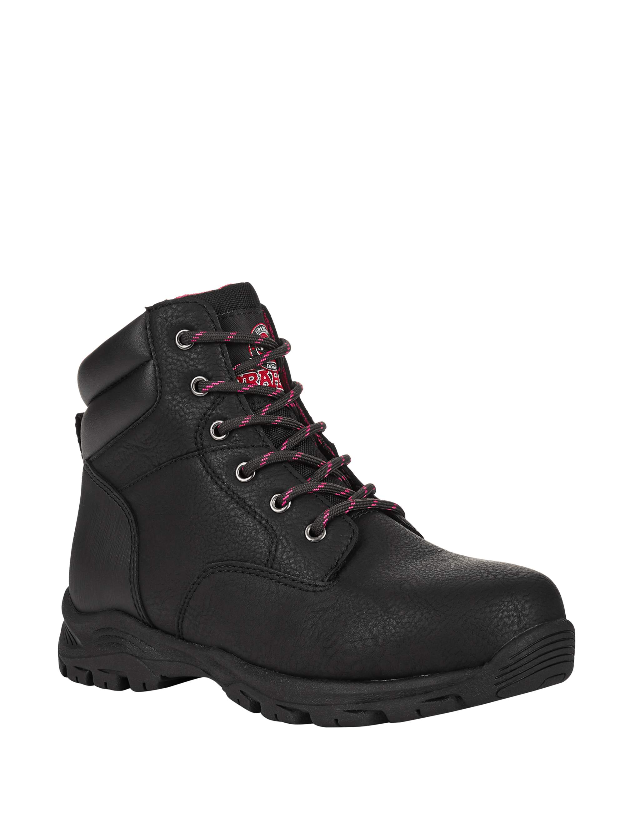 LADIES WOMENS BLACK//PINK STEEL TOE CAP PPE WORK SITE//SAFETY TRAINER BOOT SHOE