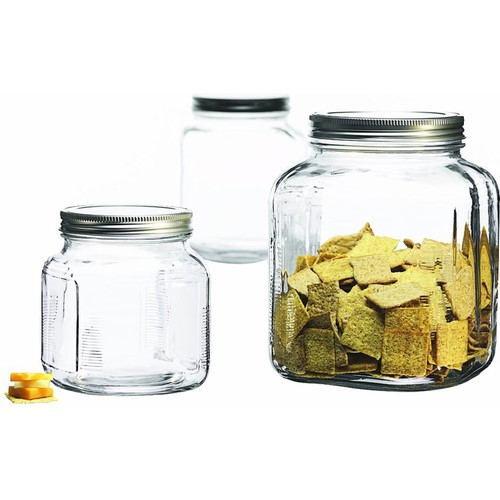 Anchor Hocking 3-Piece Glass Cracker Jar Canister Set 95705 by Anchor Hocking