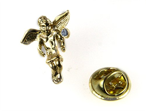 March Rhinestone Birth Month Angel Lapel Pin Guardian Protector Tie Tack Brooch by