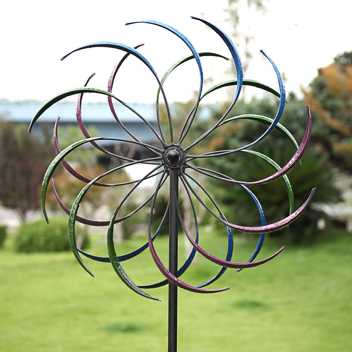 "Metal Kinetic Rainbow Wind Spinner Yard Art Double Spiral Garden Ornaments 79"" H"