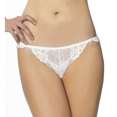 Jezebel by Felina | Caress Too Thong | Panty | Lace | Trim | Minimal Coverage (White, Large) Jezebel Nylon Thongs