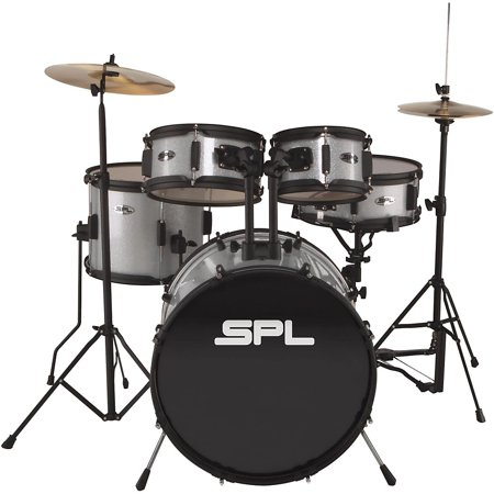 Sound Percussion Labs Kicker Pro - 5-Piece Drum Set with Stands, Cymbals and Throne Silver Metallic