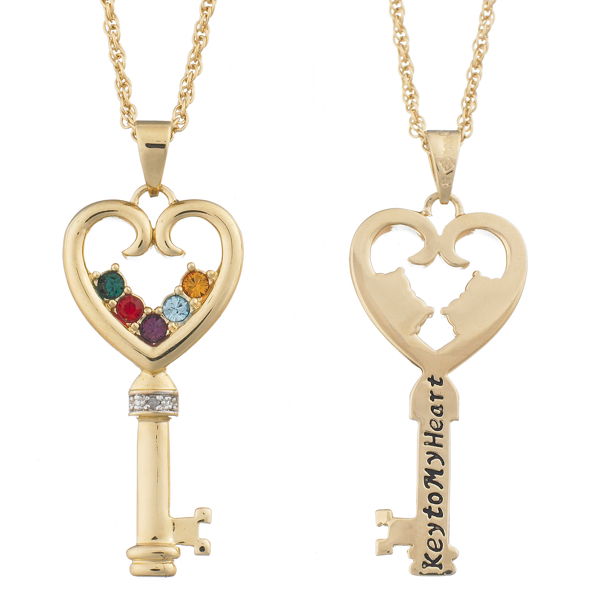 "Personalized Silver-Tone Family Birthstone ""Key to My Heart"" Necklace"