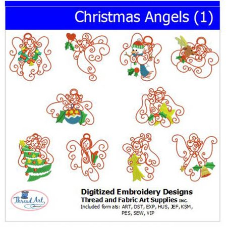 Threadart Machine Embroidery Designs Christmas Angels (1) CD ()