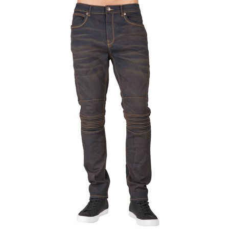 Level 7 Men's Copper Wash Ribbed Knee Straight Leg Moto Jeans Low Rise