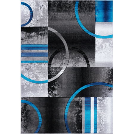 Ladole Rugs Dark Grey Gray Blue Turquoise Modern Geometric Area Rug Mat Carpet Runner for Living Bed room Entry way Patio Non Slip Size 3x5. 4x6 5 x 8 7 x 10, 9 by 12 11 feet ft - image 1 of 6