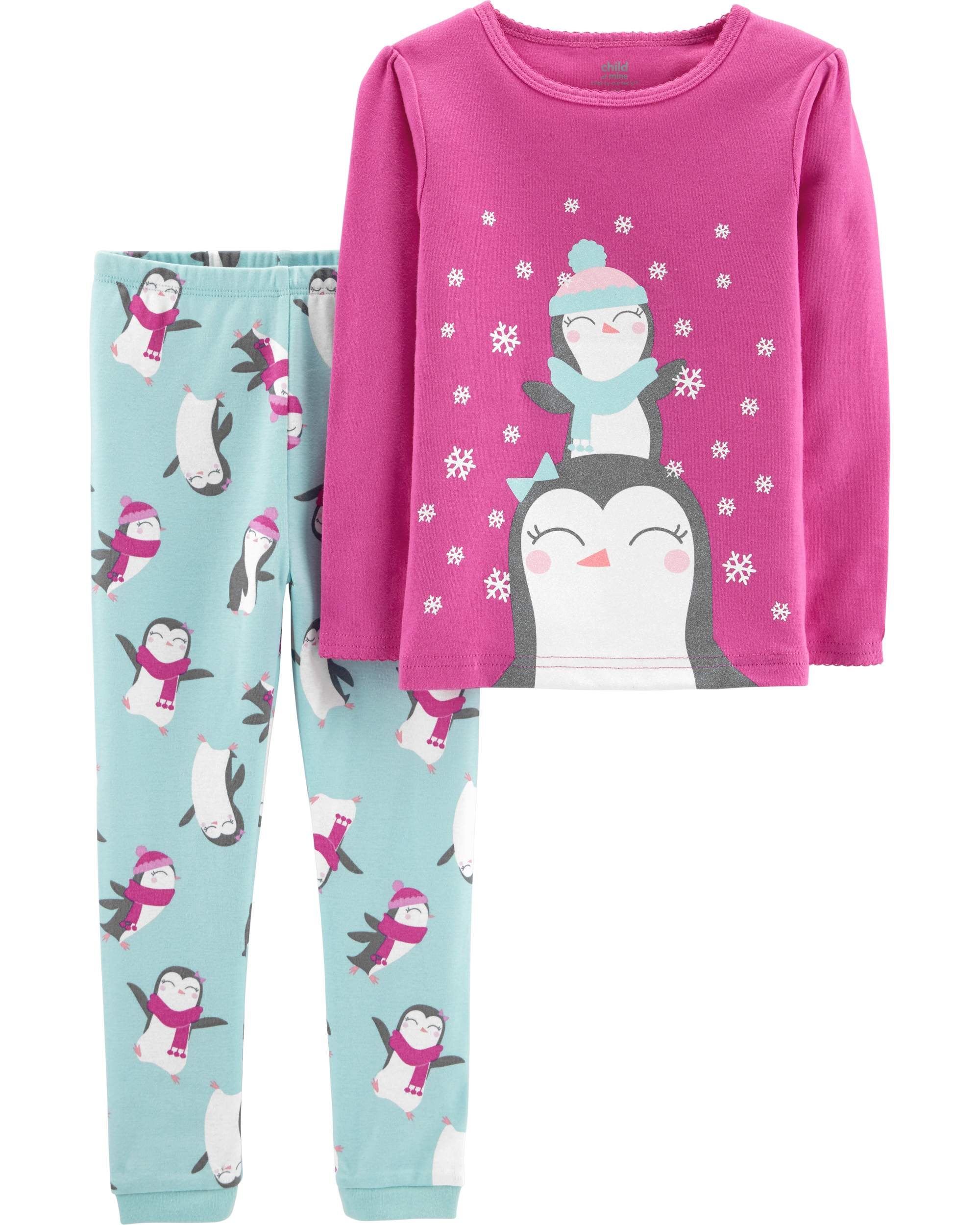 Christmas Penguin Long Sleeve Cotton Tight Fit Pajamas, 2-piece Set (Baby Girls & Toddler Girls)