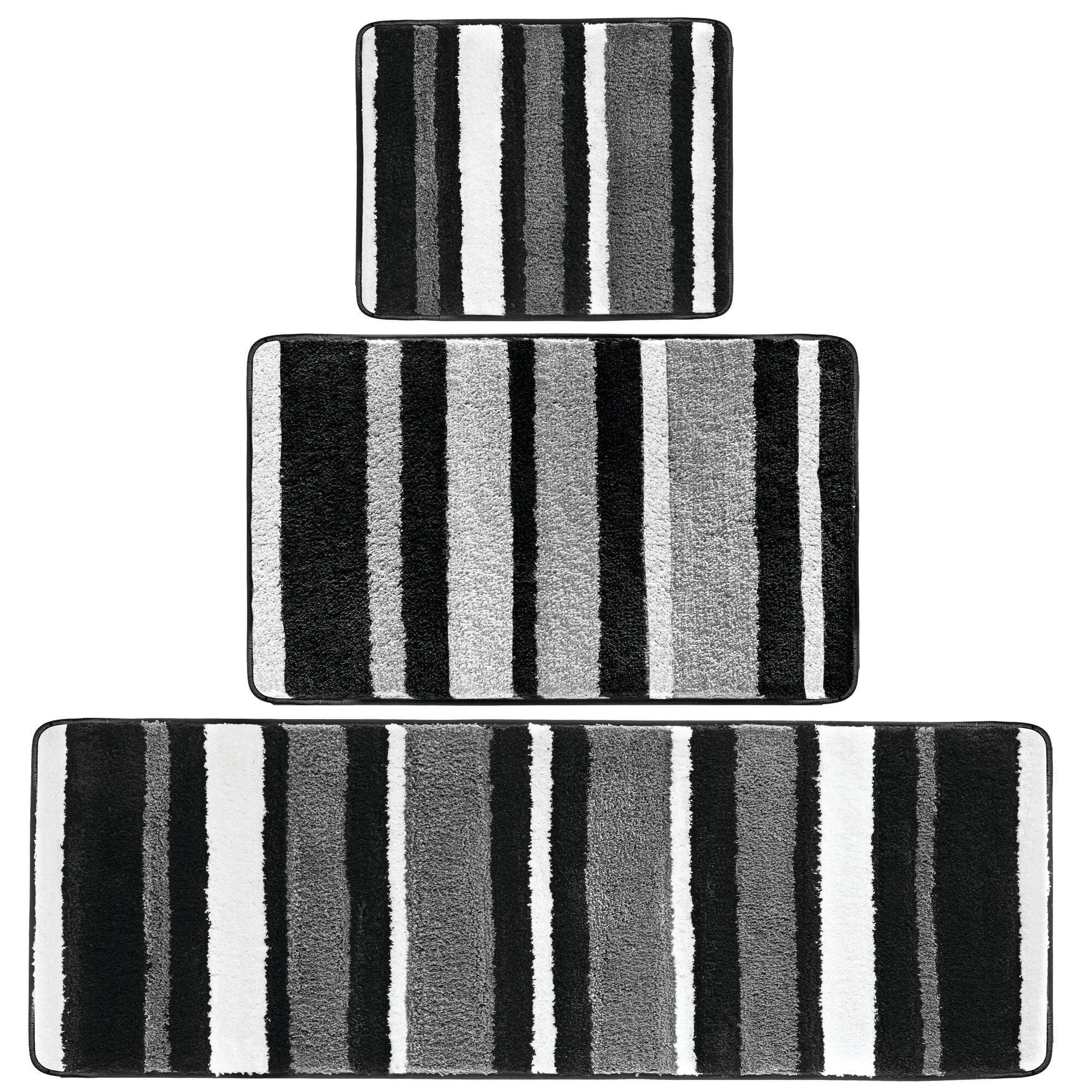 mDesign Soft Microfiber Spa Rugs for Bathroom Vanity Tub//Shower Set of 2
