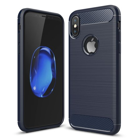 Fix Carbon Fiber (iPhone X Case, KAESAR [Slim Fit] Light Weight Anti-fingerprint Skin Carbon Fiber Flexible Durable TPU with Anti-Slip Brushed Texture Protective Armor Case Cover for for iPhone X)