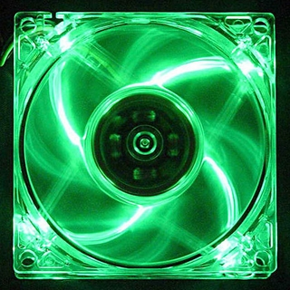 Logisys 80mm Lighted Clear Case Fan w/ 3pin & 4pin Power - LT400GN (GREEN)