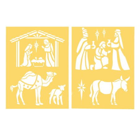 Darice Craft Stencils. Nativity Scene. 8.5 x 11 inches. 2 pieces