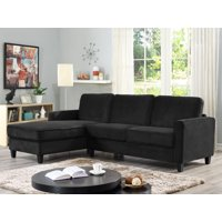 Product Image Lifestyle Solutions Fontana Sectional Sofa With Contrast Piping And Solid Wood Legs Black
