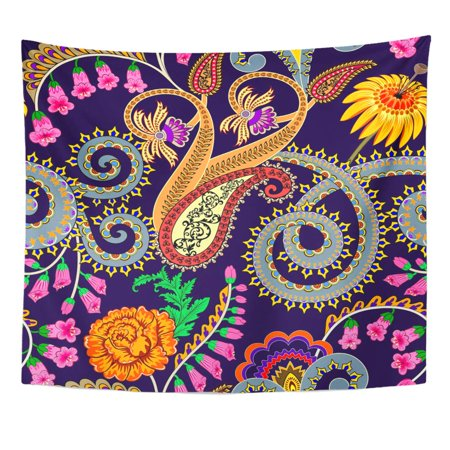 ZEALGNED Bright with Paisley Swirls Festoons Decorated Yellow Rose Foxglove Flowers on Dark Blue Wall Art Hanging Tapestry Home Decor for Living Room Bedroom Dorm 51x60 (Best Decorated Dorm Rooms)