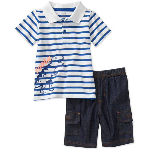 Child of Mine by Carters Baby Boys' 2-Piece Dino Stripe Polo and Short Set
