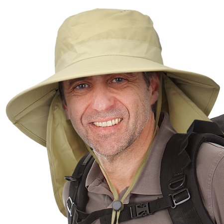 Men's Sun Protection Hat with Neck Flap Cover,Wide Brim Outdoor Fishing Hiking Camping Hunting Boating Safari Gardening Working Hat (The Man With The Yellow Hat)