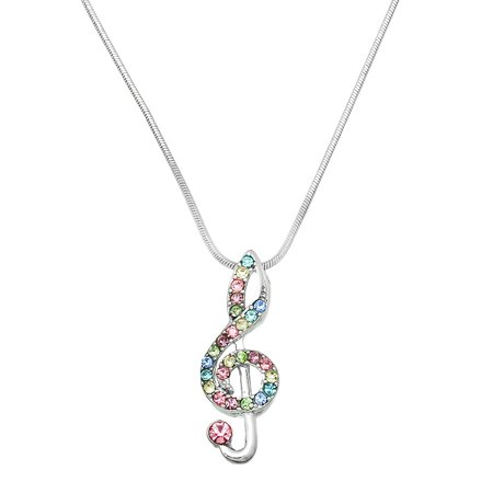 Music Note Pendant Necklace Rhinestone Crystal Rhodium High Polished J0234-MT