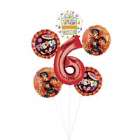 Coco Party Supplies 6th Birthday Fiesta Balloon Bouquet Decorations - Red Number 6