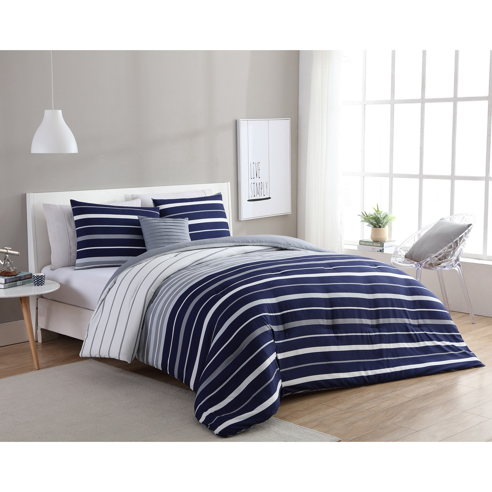 VCNY Home Navy/White Preston Stripe 3-Piece Comforter Bedding Set