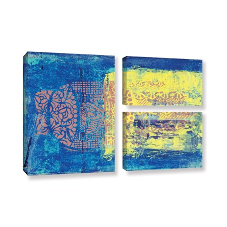 Elana Ray's Blue with Stencils 3 Piece Gallery Wrapped Canvas Flag Set, 24 x