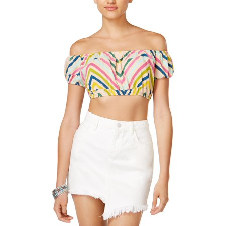 - Guess Womens Printed Striped Crop Top
