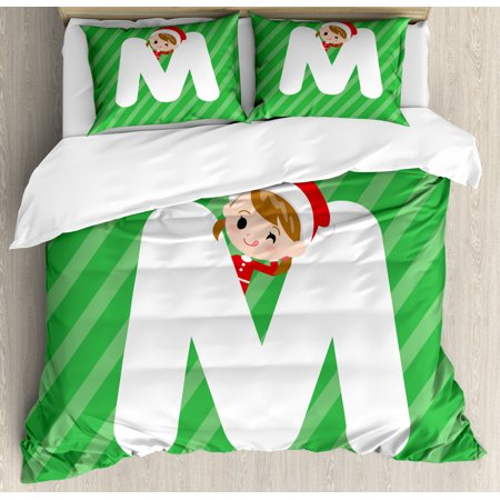Christmas Alphabet Duvet Cover Set, Santa Popping from Behind a Letter M Happy Holiday Setting, Decorative Bedding Set with Pillow Shams, Green Dark Coral White, by Ambesonne ()