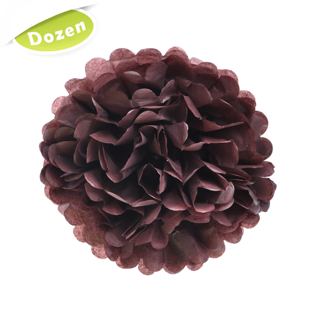 Aspire Dozen Paper Pom Poms Tissue Paper Flowers Party Decoration For Wedding Birthday Baby Shower-Chocolate-10 inch
