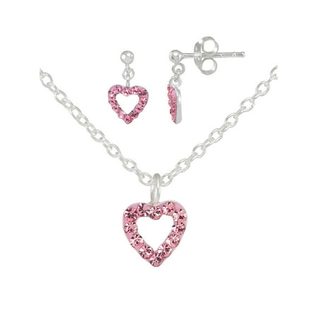 Girls' Sterling Silver Pink Crystal Open Heart Pendant and Dangle Earring Set - Jade Pendant Earring Set