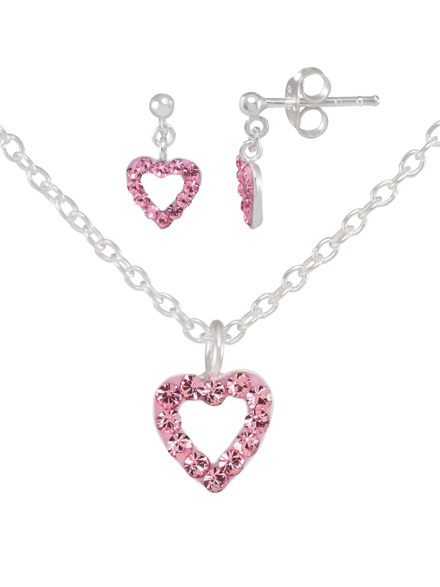 Girls' Sterling Silver Pink Crystal Open Heart Pendant and Dangle Earring Set