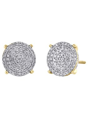 10K Yellow Gold Genuine 4-Prong Diamond Square 3D Stud 10mm Pave Earrings 1/3 CT