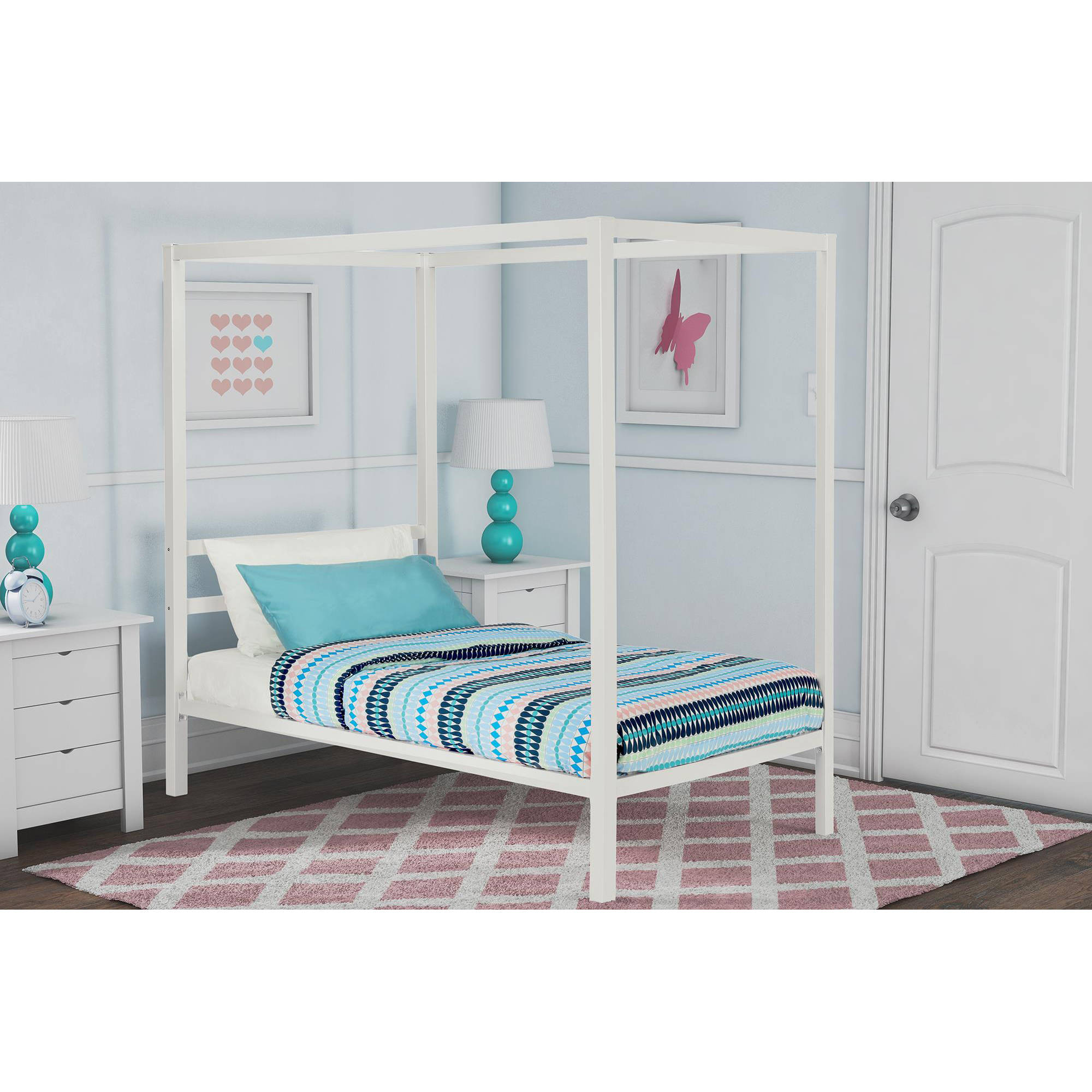 DHP Modern Metal Canopy Bed, White
