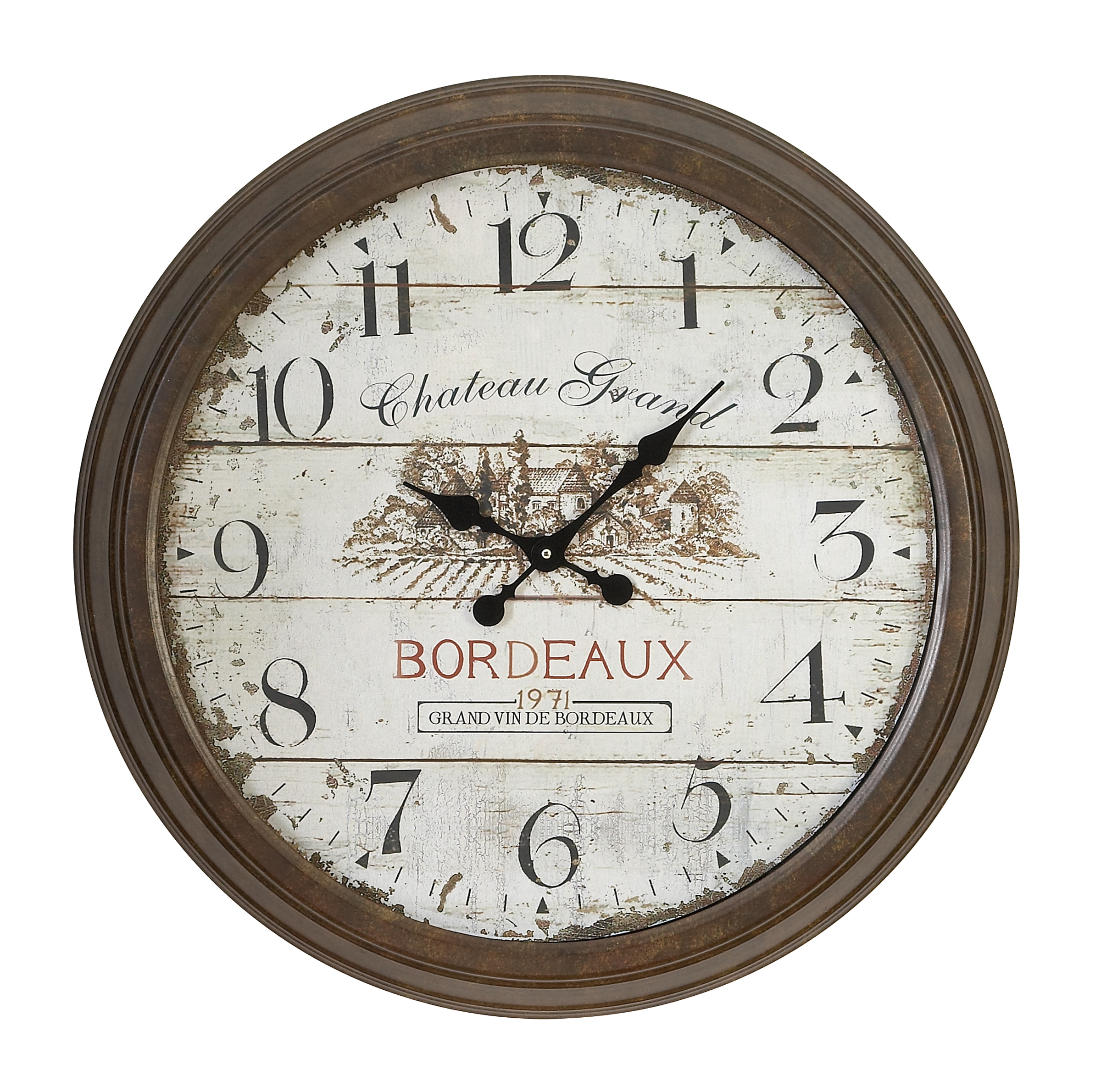 Metal Wall Clock With Dial Face Of 1971 Bordeaux Clock by Benzara
