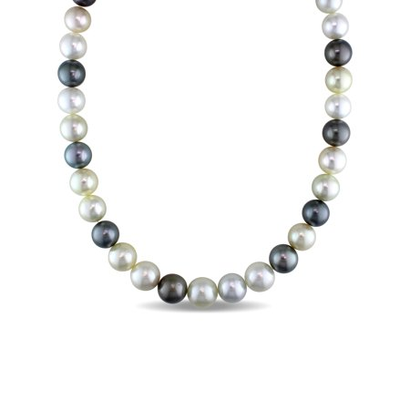 """Miabella 9-11MM Multi-Color South Sea and Tahitian Pearl 14kt Yellow Gold Graduated Strand Necklace, 18"""""""