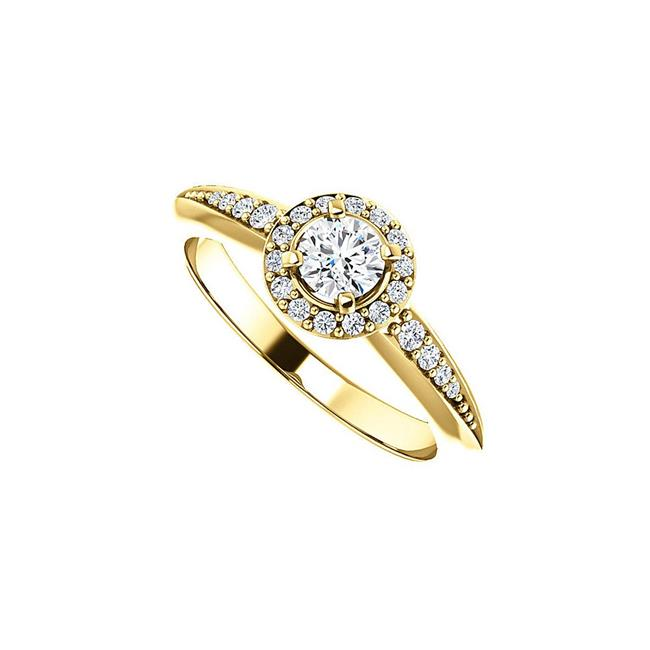 0.75 CT 14K Yellow Gold Round Love me Forever Cubic Zirconia Halo Style Ring, Size 6 - image 1 of 1