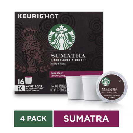 Starbucks Sumatra Dark Roast Single Cup Coffee For Keurig Brewers, 4 Boxes Of 16 (64 Total K-cup