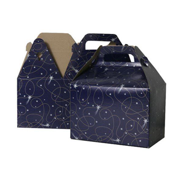 JAM Paper Gable Gift Box with Handle, Medium, 4 x 8 x 5 1/4, Purple Shooting Stars Design, Sold individually