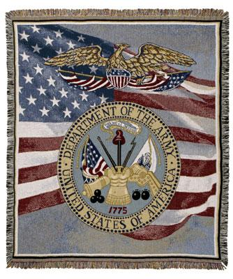 Department of the Army ~ United States Army Tapestry Afghan Throw