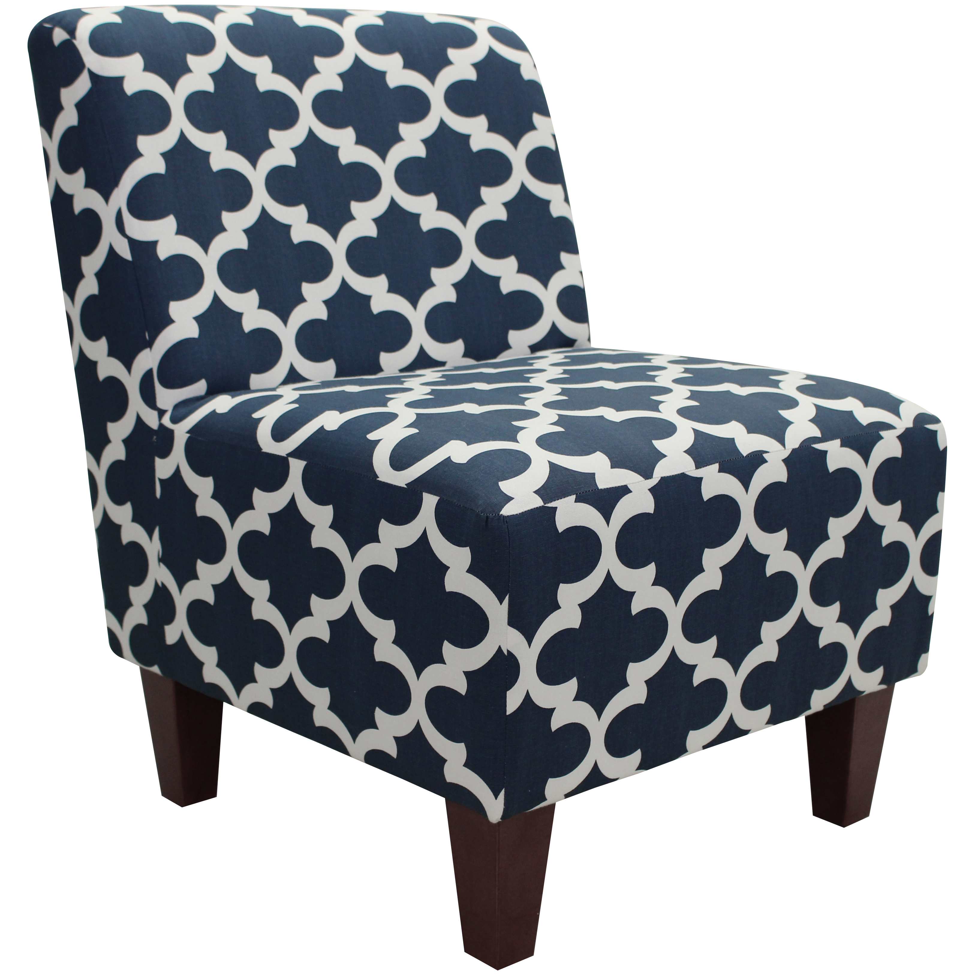 Blue White Armless Slipper Chair Geometric Padded Accent