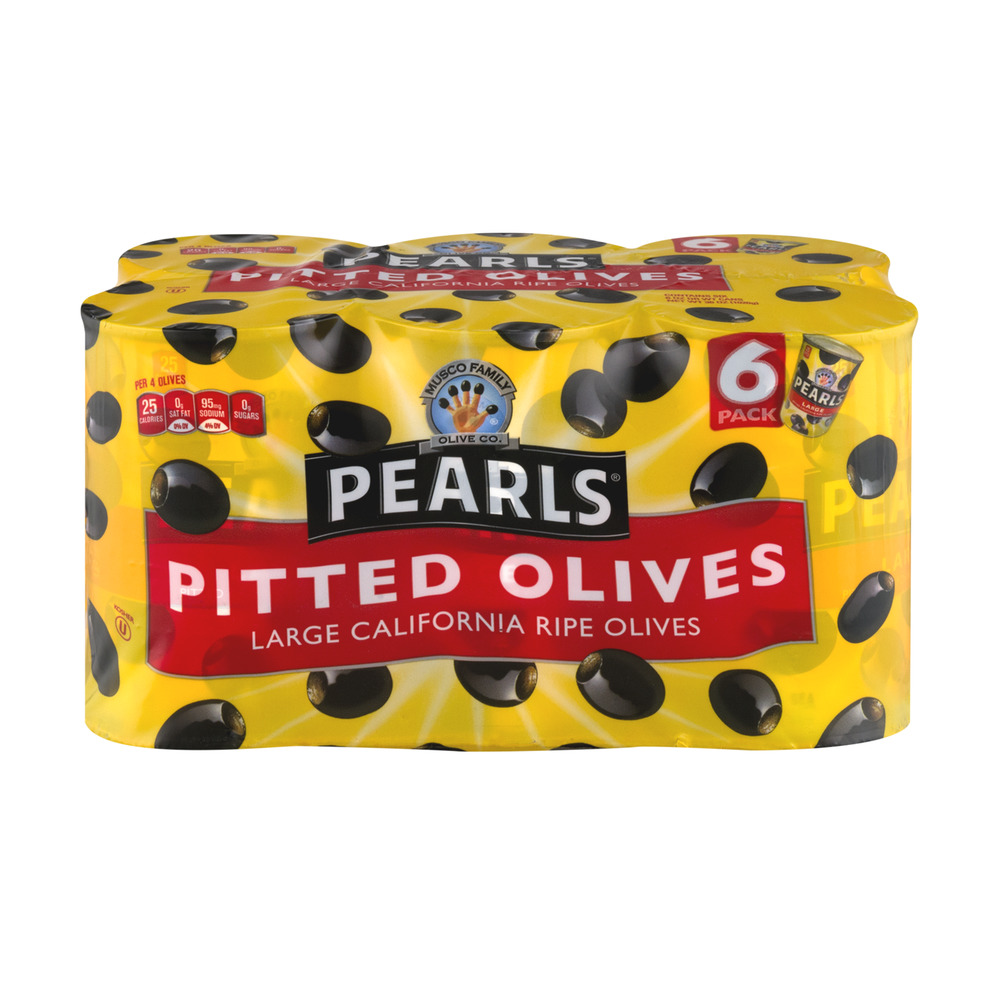 Pearls Large California Ripe Olives Pitted - 6 PK, 6.0 OZ