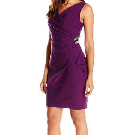 Alex Evenings NEW Summer Plum Purple Womens Size 2 Ruched Sheath Dress