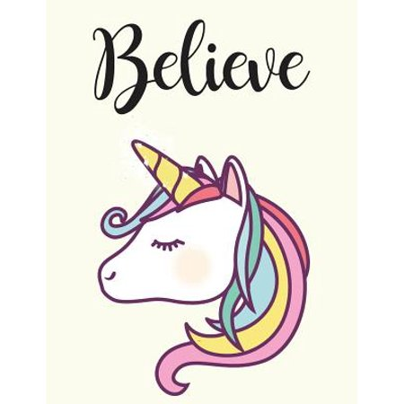 Believe : Unicorn, Mix 90p Dotted Grid 20p Lined Ruled, Inspiration Quote Journal, 8.5x11 In, 110 Undated Pages: Quote Journal to Write in Your Wisdom Thoughts, New Ideas, Special Moments, or Daily