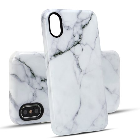 - For iPhone XS and iPhone X White Marble Case Shockproof TPU Material