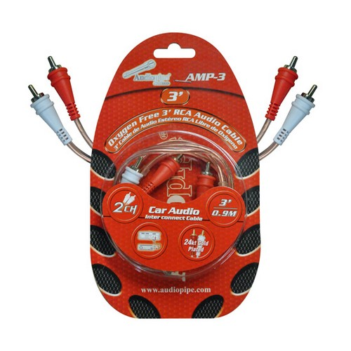 Audiopipe AMP3 RCA Cable 3' OFC Clear Installer Series