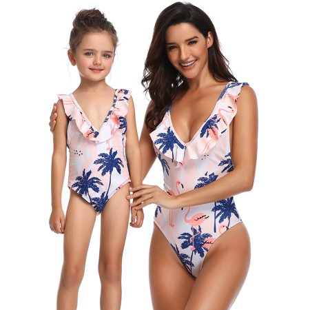 ac7117fc2a Mommy and Me swimwear Family Matching One Piece Swimming Costume Swimwear  Swimsuit Mom Daughter Women Kids Girl Bikini Set Bathing Suit Backless Pink  Floral ...