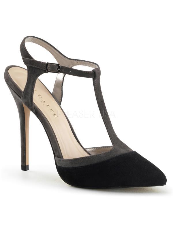 "AMU17/B-GYSUE Shoes Pleaser Single Soles 5"" Heel Shoes AMU17/B-GYSUE Blk-Grey Suede Size: 11 812c30"